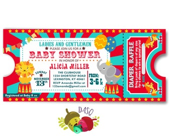 Circus baby shower invitation - Carnival baby shower boy baby shower invite- DIY Circus ticket couples coed shower