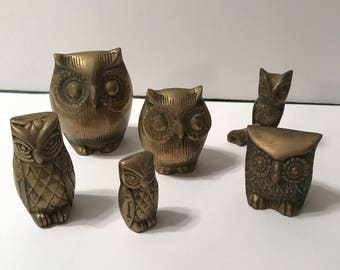 Collection of vintage brass owls - six