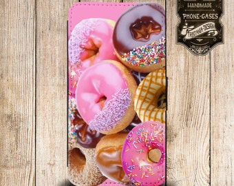 """Handytasche, Leather Wallet Phone Case  iPhone & Samsung, Sony Xperia """"Donuts"""""""