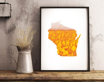 Wisconsin + Beer - State Outline Pattern - Wall Art