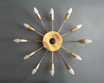 Gorgeous rare big Mid Century Brass Sputnik ceiling lamp with 12 arms for E14 sockets.