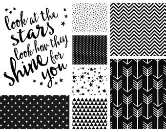 NEW! Gender Neutral Look at the Stars Crib Bedding - Minky Baby  Blanket, Crib Sheet and Crib Skirt in Black and White