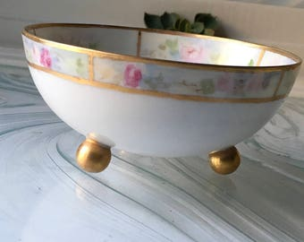 Vintage Hand Painted Footed German Bowl