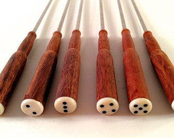 Vintage Fondue Forks. Stainless Steel with Teak Wood Handles and Black and White Dice Ends. Oneida, Northland Set of 6 in Original Box.