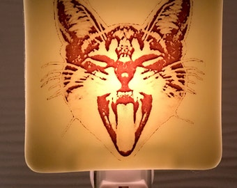Screaming Cat  Night Light Fused Glass