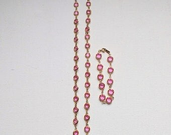 Swarovski Pink Crystal Necklace And Bracelet Set Swarovski Swan Tag Vintage 1980s