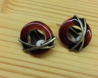 Women Earrings Clip Vintage Retro Dark Red Enamel Copper Charming Style
