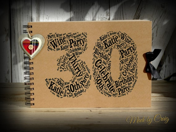 personalised 30th birthday photo album scrapbook guest book anniversary 18th 21st 30th. Black Bedroom Furniture Sets. Home Design Ideas