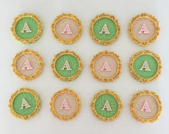 12 initial framed fondant toppers