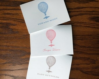 Hot Air Balloon folded baby thank you cards for travel themed nursery, personalized baby stationery for hot air balloon nursery decor