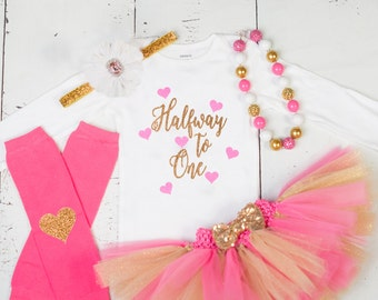 HALF BIRTHDAY Baby Girl Tutu Outfit,Six Month Photo Outfit,6 Month Birthday Bodysuit,Headband,Necklace,Pink Gold Glitter Halfway To One