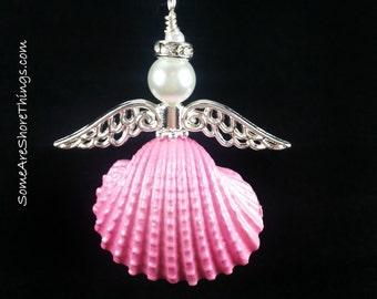 Angel Ornament.  Pink Seashell Angel Christmas Tree Ornament. Girl Gender Reveal Idea. Breast Cancer Survivor Gift. In Memory Gift Idea.