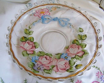 "Vintage 50s Heisey Glass Lariat Charleton Console Bowl 12"" Hand Painted Pink Roses Cottage Chic"