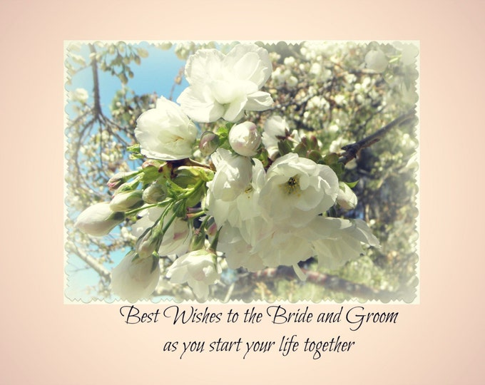 WEDDING Wishes Card created by Pam Ponsart of Pam's Fab Photos features a White Floral Photo and Text Ships Free
