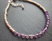 dainty amethyst silver bracelet lilac ombre stacking bracelet friendship braceletpurple gemstone February birthstone rondelle bracelet