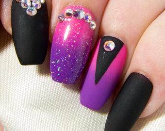 Crystal Coffin Nails - Matte Fake Nails - Nail Art Press On Nails - Faux Nails with Designs - Neon False Nails - Ballerina Glue On Nails