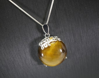 Tiger's Eye Necklace - 925 Sterling Silver Tiger's Eye Jewelry - Yoga Necklace - Silver Flower Necklace