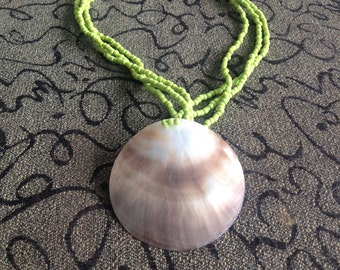 157-Seashell Pendant Necklace, Lime Bead Necklace, Shell Necklace, Sea Shell Necklace, Seashell Bead Necklace, Shell Necklace, Sea Shell