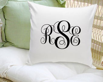 Interlocking Monogram Throw Pillow - Monogrammed Throw Pillow - Personalized Home Decor - Throw Pillows - Housewarming Gifts - GC1559