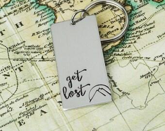Get Lost Keychain • Handstamped Travel Gift • Wanderlust Key Chain