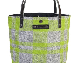 Ailsa tote - lime and green harris tweed