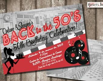 50's Diner Invitation-- - digital download or printed option