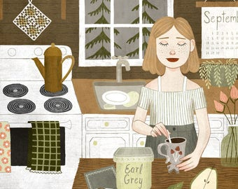 cabin kitchen print