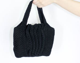 abstract crochet bag black novelty knit purse
