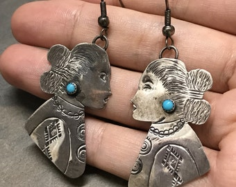 Native American Vintage sterling silver earrings, fine 925 silver Asian women, mother's  figure with turquoise details, stamped AD sterling,
