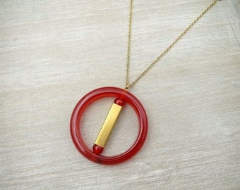 Long necklace,  Red agate and raw brass necklace, Red agate necklace, Long geometric necklace, Circle pendant