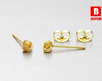 925 Sterling Silver Earrings, Gold Plated Earrings, Knot Earrings, Stud Earrings, Size 3 mm (Code : E36YG)
