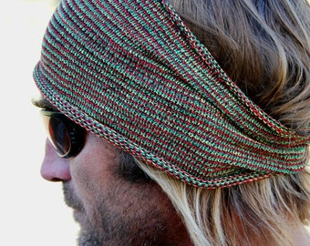 REGULAR Width Rasta Knit Headband, Rasta Headband, Headband for Men, Boho Festival Headband, Yoga Headband, Workout Headband, Rasta Hair