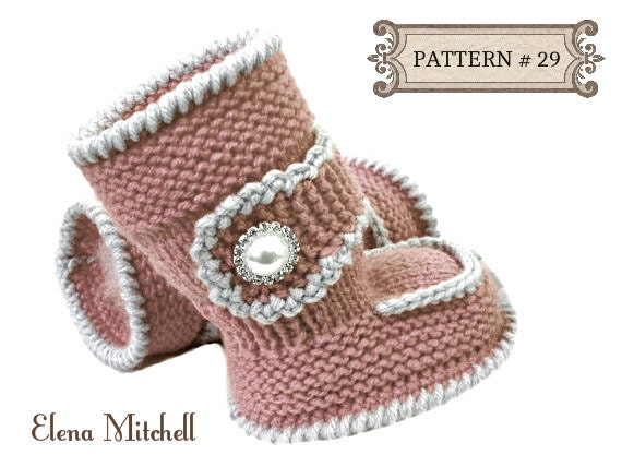 Knitted Baby Uggs Pattern : Knitting PATTERN Baby Booties Baby Shoes Knitted Baby Uggs