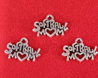 "BULK! 15pc ""Softball mom"" charms in silver style (BC1177B)"