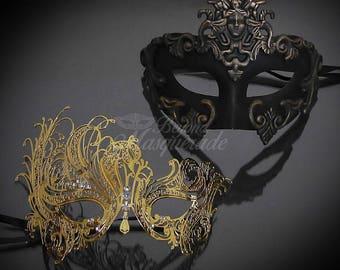 Couples Masquerade Masks, His & Hers Masquerade Masks - Bestselling Gold Roman Mask and Laser Cut Masquerade Mask RHINESTONES