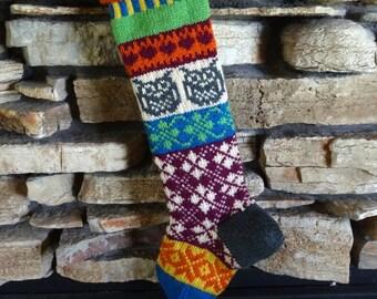 Knit Christmas Stockings, Personalized Christmas Stockings, Knitted Christmas Stocking, Christmas Stocking Knit, Gray Owl, Fuchsia Argyle