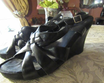 Black Buckle Wedge Open Toe Sandals - Size 7 1/2 M