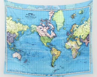 World map blanket etsy world mercator map fleece blanket throw cozy sofa couch bed travel gumiabroncs Images