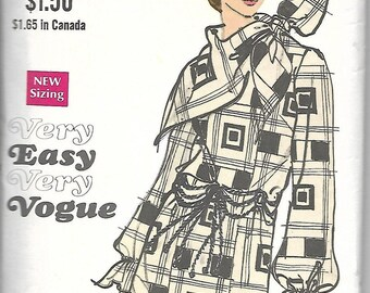 Vogue 7690      C1970's      Misses One- Piece Dress and Scarf   Size 10