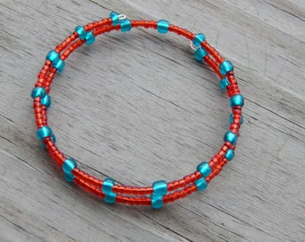 Red and Teal Beaded Memory Wire Bracelet - Red and Teal Beaded Wire Wrapped Bracelet - Bangle Bracelet - 2 Coil Bracelet