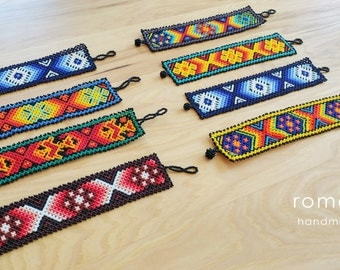Thin Huichol Bracelets - Mexican Art - Romea Accessories - Jewelry - Huichol Art - Beads
