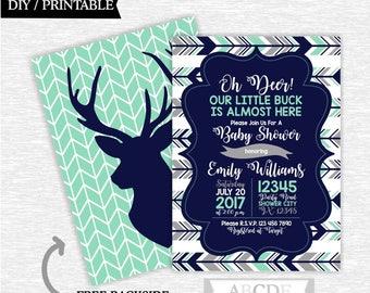 Deer baby shower invitation woodland baby shower invitation mint navy baby shower invitation printable boy baby shower invitation (PDW503)