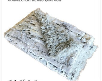 Worlds Softest Minky Cuddle Fur Blanket - Reversible - Soft Gray Pattern with Gray Fleece  Minky Cuddle Fur All Sizes and Colors