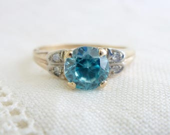 A Vintage Natural Blue Zircon and Diamond Ring in 10kt Yellow Gold - Delaney