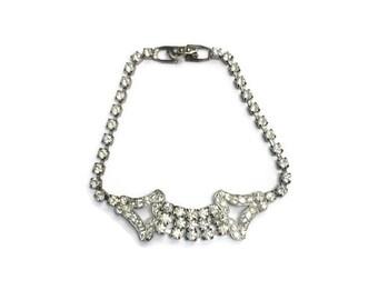 Vintage Rhinestone Bracelet, Art Deco Style Bracelet, Wedding Bridal Jewelry, Costume Jewelry