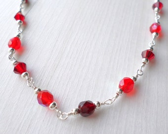 Red necklace, crimson necklace, scarlet necklace, burgundy necklace, silver necklace, crystal necklace, party necklace