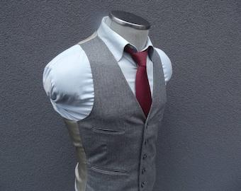 1960s Vintage Gray Striped Vest 36 Small / Men's Suit Vest / Wool Waistcoat / Wedding / Gray Vest / Vtg Mens Vest / Four welt Pockets