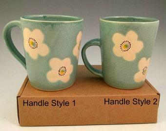 Turquoise, Wax Resist Mugs