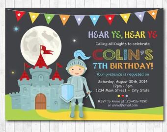 Κnight Birthday Party Invitation, Knight Invitation, Knight Birthday, Knights Party, chalkboard, printable