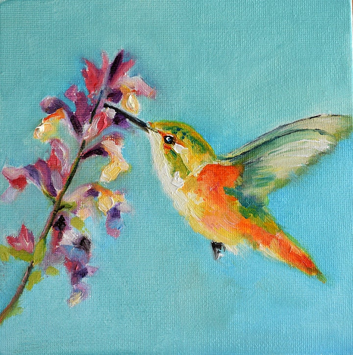 Colorful hummingbirds flying - photo#52
